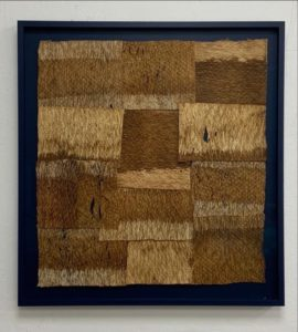 Paul Beumer, The horizon, 2020, bleached and stitched barkcloth in artist's frame, 55 x 52 cm, Collection of AkzoNobel Art Foundation.