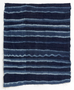 Paul Beumer, Akhir al-Nahr, 2019, indigo dyed and bleached cotton, 89 × 70 cm