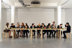 from the Food for Thought series, Last Supper, video documentation of a happening, photo: Thierry Bal