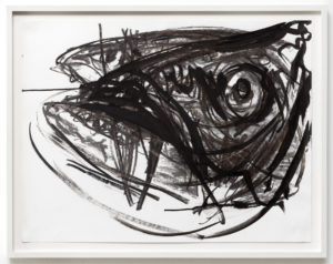 Wieske Wester, Fish #6, charcoal and Indian ink on paper, 50 x 70 cm
