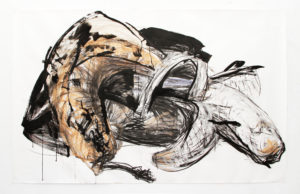 Wieske Wester, Bananas #13, 2018, charcoal, Indian ink and pastel on paper, 150 x 250 cm (private collection Switzerland)