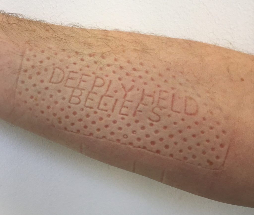 Lennart Lahuis, deeply held beliefs, 2019, temporary imprint on skin