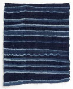 Paul Beumer, Akhir al-Nahr, 2019, indigo dyed and bleached cotton, 89 × 70 cm