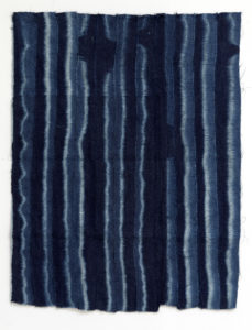 Paul Beumer, An-Nisr ul-Waqi, 2019, indigo dyed and bleached cotton, 89 × 72 cm