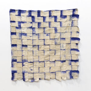 Paul Beumer, The flying fish, 2019, woven cotton and batik paint, 85 × 85 cm