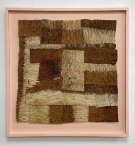 Paul Beumer, A Child, young of animals and plants, 2020, bleached and stitched barkcloth in artist's frame, 55 x 52 cm, Collection of AkzoNobel Art Foundation.