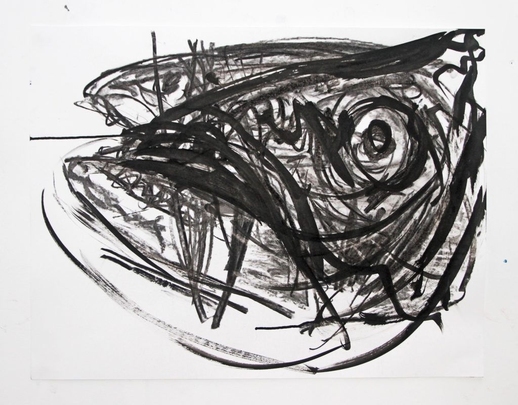 Wieske Wester, Fish #6, 2017, charcoal and Indian ink on paper, 50 x 70 cm