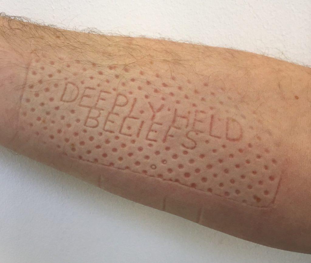 Lennart Lahuis, deeply held beliefs, 2019, temporary imprint on skin