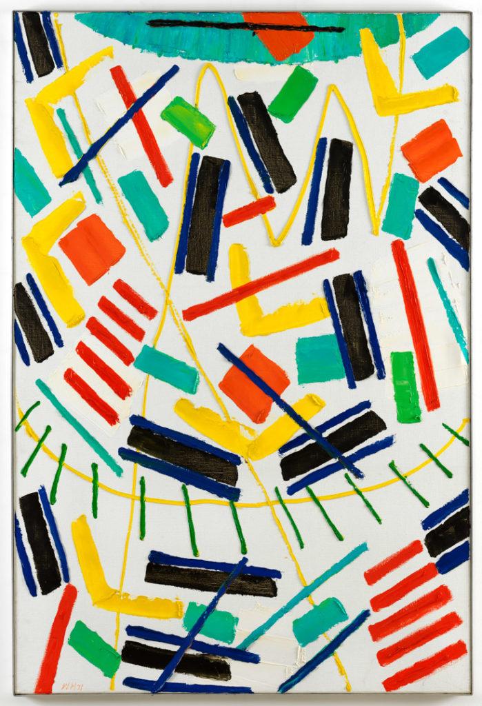 Willem Hussem, Composition, 1971, oil on canvas